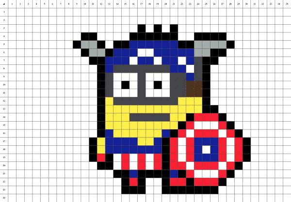 Minion Captain America Pixel Art grille fond blanc