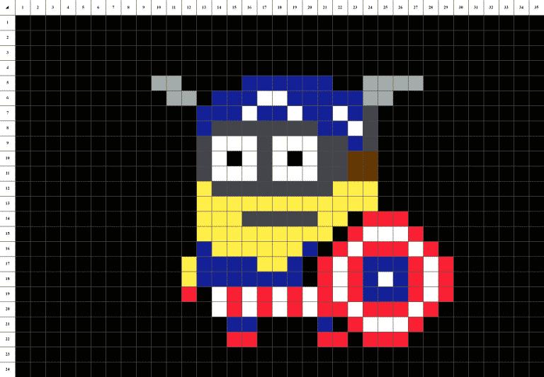 Minion Captain America Pixel Art grille fond noir