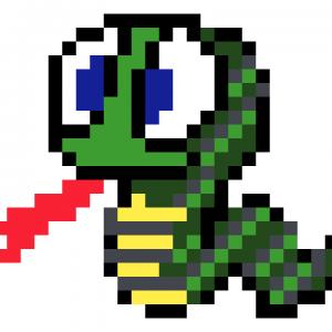Serpent mosaique pixel art vignette fond blanc