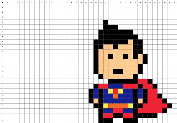 Superman man of steel pixel art grille fond blanc
