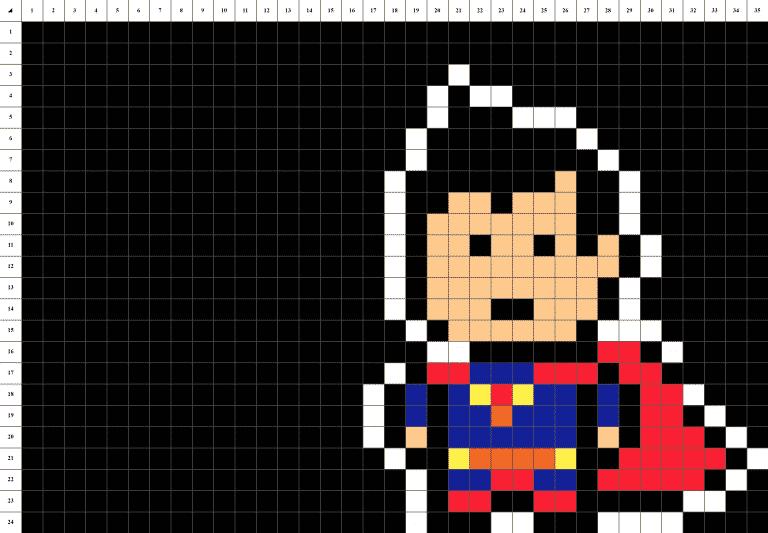 Superman man of steel pixel art grille fond noir