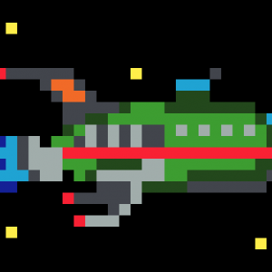 Vaisseau spatial Futurama Pixel Art vignette fond noir