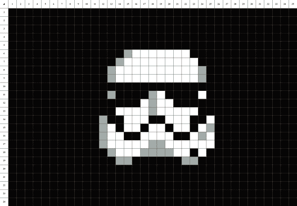 casque stormtroopers first order pixel art grille fond noir
