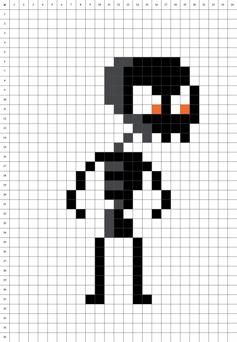 squelette pixel art grille fond blanc