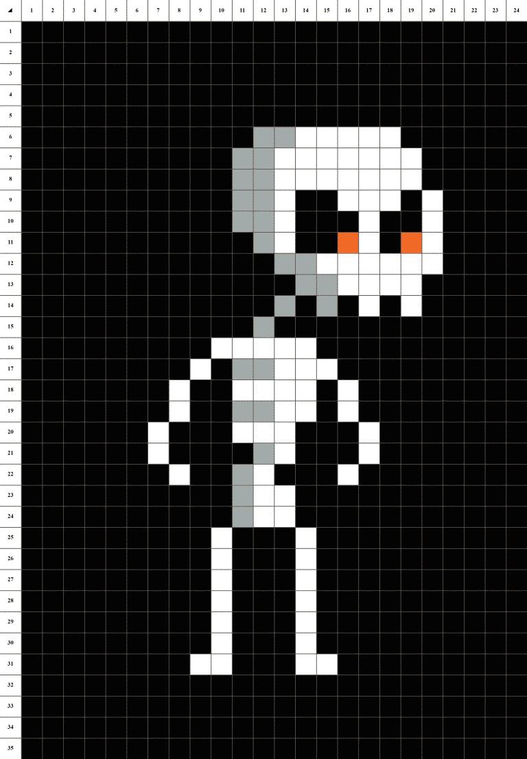 squelette pixel art grille fond noir
