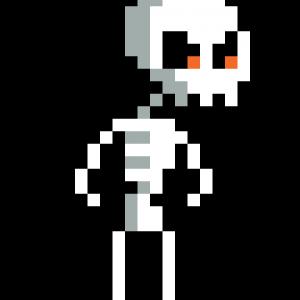 squelette pixel art vignette fond noir