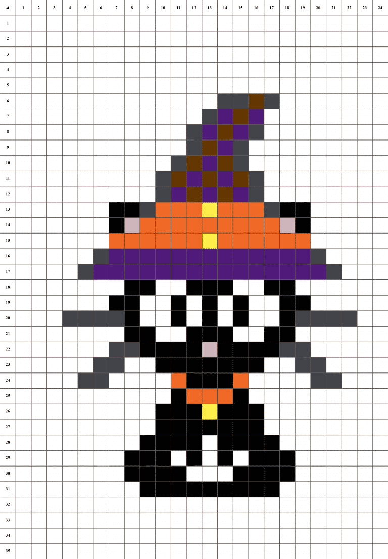 Chat d'Halloween pixel art grille fond blanc