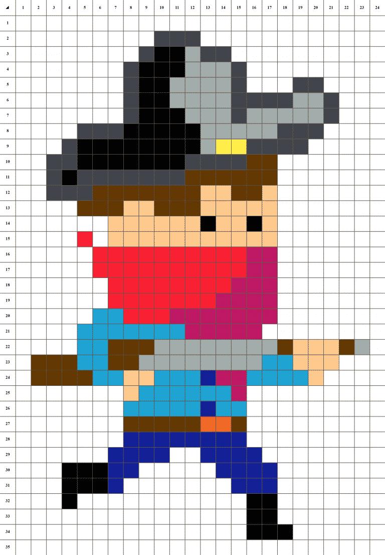 Cowboy bandit farwest pixel art grille fond blanc