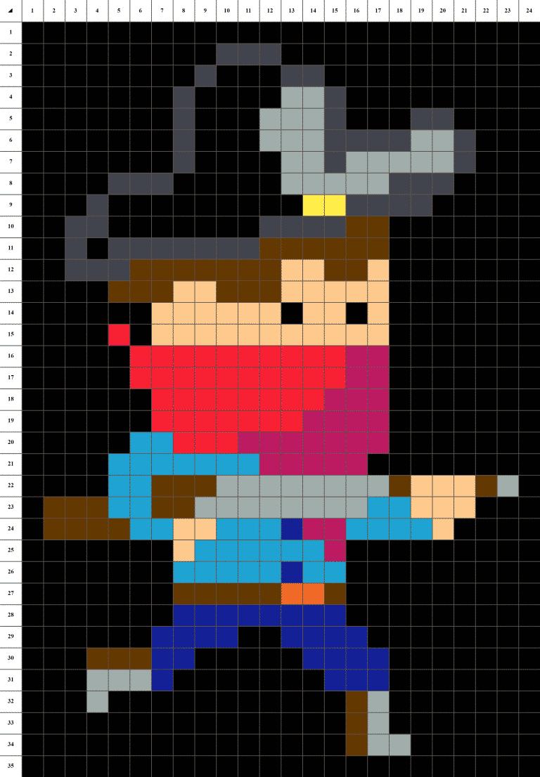 Cowboy bandit farwest pixel art grille fond noir