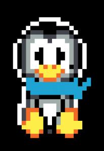 Pingouin frileux pixel art mosaique vignette fond noir