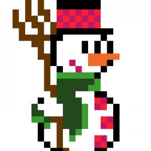Bonhomme neige pixel art vignette fond blanc