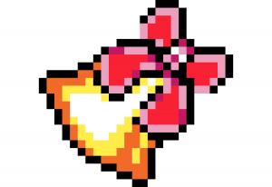 Cloche de Noël Pixel art vignette fond blanc