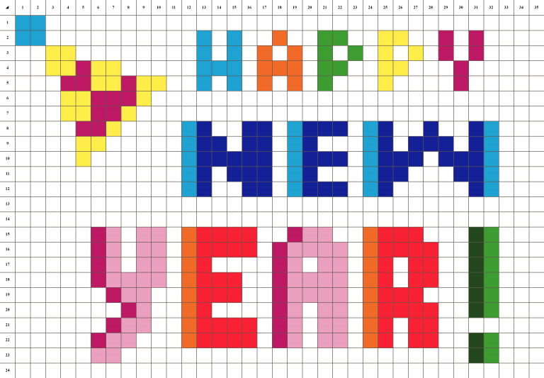 Happy new year Pixel art grille fond blanc