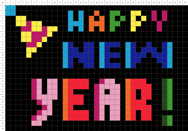 Happy new year Pixel art grille fond noir