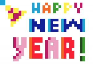 Happy new year Pixel art vignette fond blanc