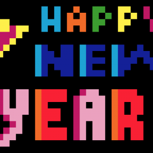 Happy new year Pixel art vignette fond noir