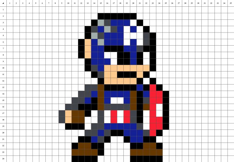 Captain America first avenger pixel art grille fond blanc