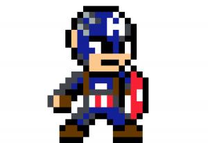 Captain America first avenger pixel art vignette fond blanc