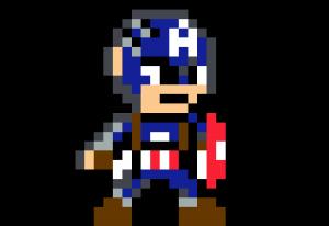 Captain America first avenger pixel art vignette fond noir