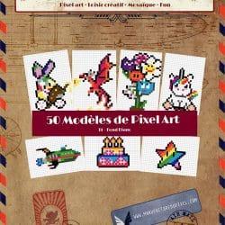 Couverture livre 50 modèles de Pixel Art T1 fond blanc