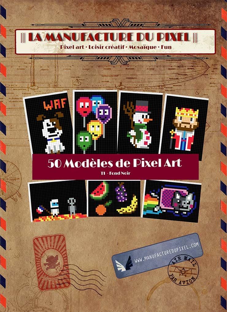 Couverture livre 50 modèles de Pixel Art T1 fond noir