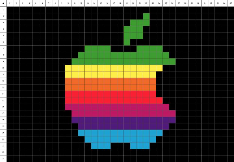 Logo Apple Pixel art grille fond noir
