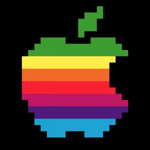 Logo Apple Pixel art vignette fond noir