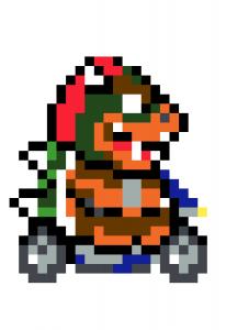 Bowser Mario Kart pixel art vignette - Fond blanc