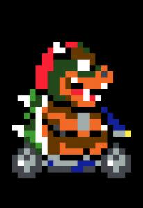 Bowser Mario Kart pixel art vignette - Fond noir