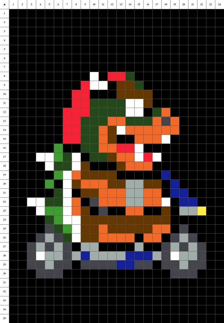 Bowser Mario Kart pixel art grille - Fond noir