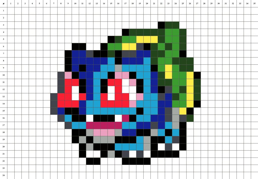 Bulbizarre Pokemon pixel art - fond blanc