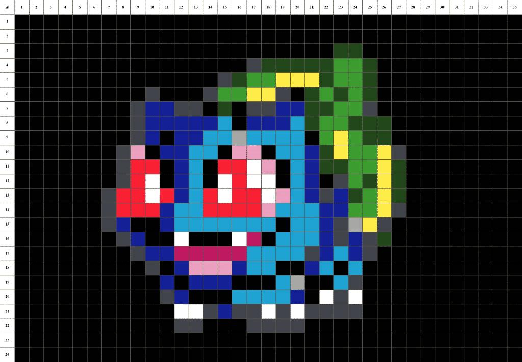 Bulbizarre Pokemon pixel art - fond noir