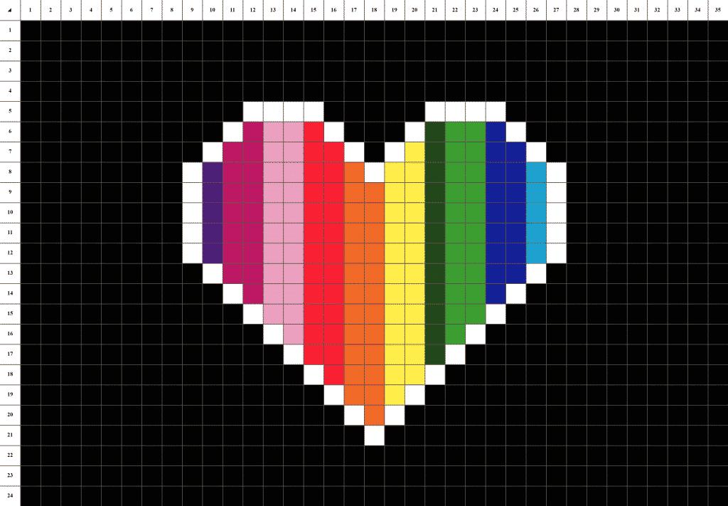 Cœur arc en ciel pixel art fond noir