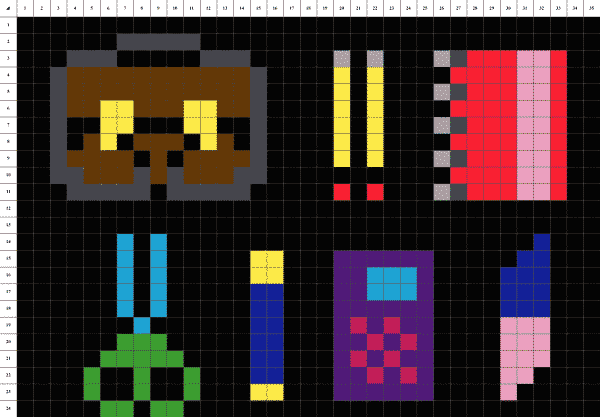 École pixel art Fond noir