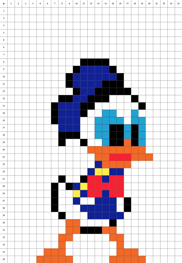 Donald pixel art fond blanc
