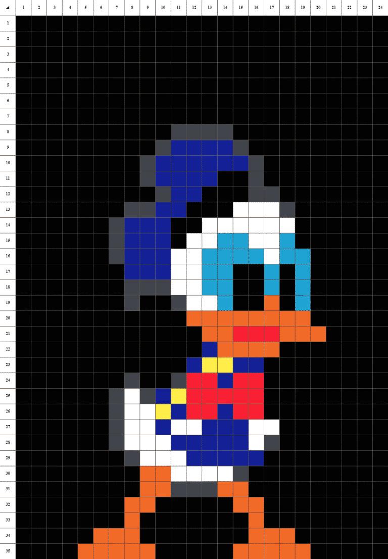 Donald pixel art fond noir