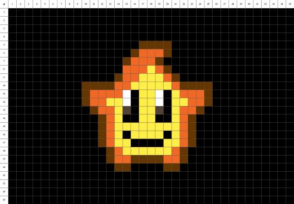 étoile mignonne pixel art fond noir