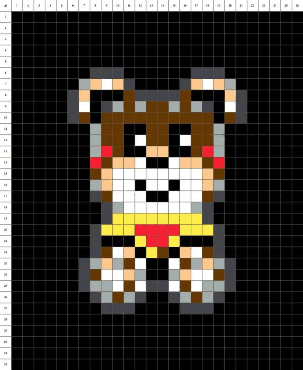 ours en peluche pixel art marron fond noir