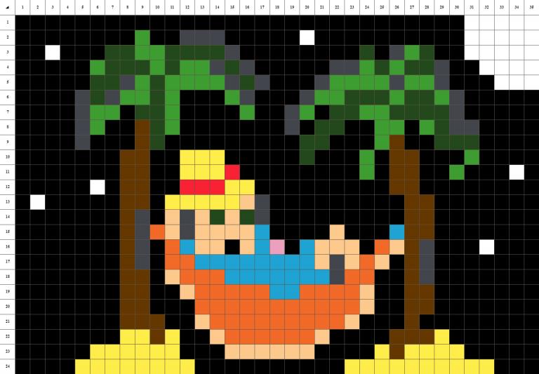 plage pixel art fond noir