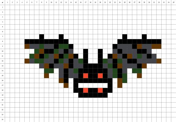 chauve-souris pixel art fond blanc