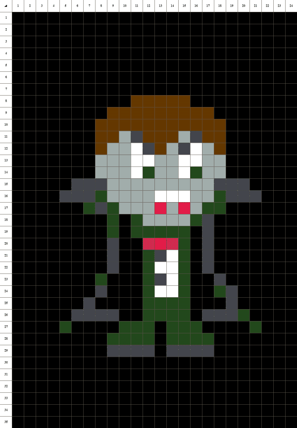 vampire pixel art fond noir