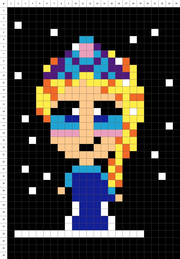 Elsa Reine des neiges pixel art fond noir