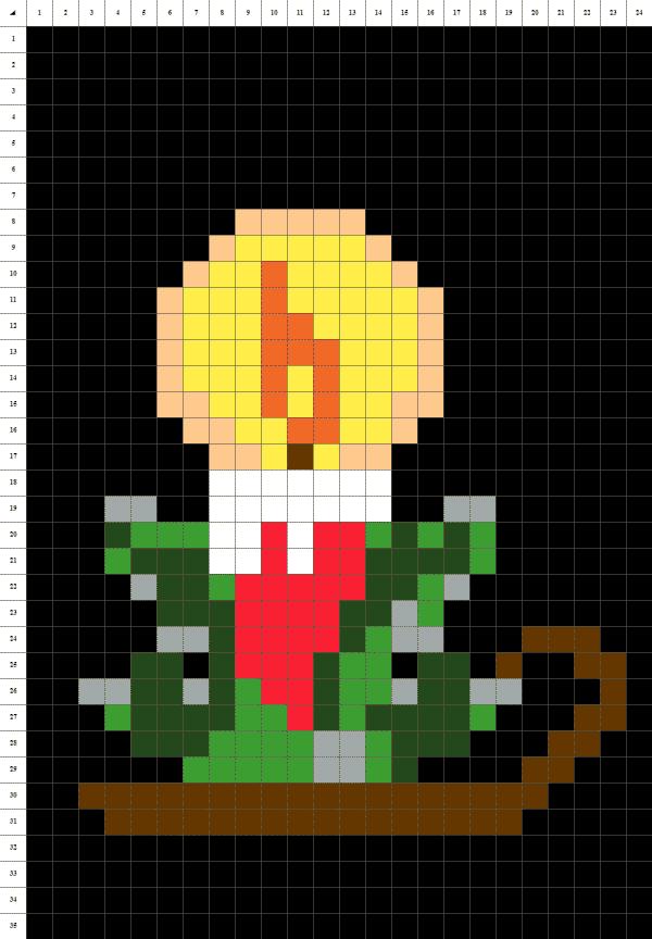 Bougie Noël pixel art fond noir