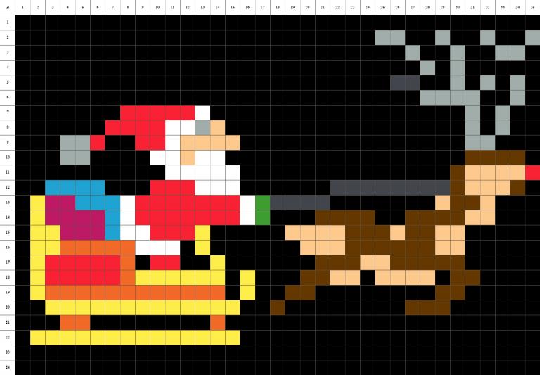 Traineau papa Noel pixel art fond noir