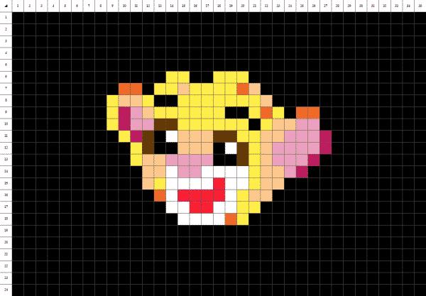Pixel art du roi Lion Simba sur fond noir