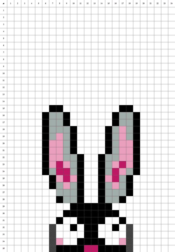 pixel art d'un lapin de pâques sur fond blanc