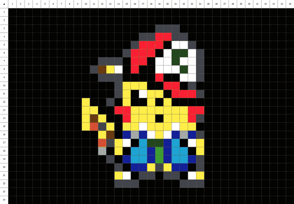 Pixel art de Pikachu de Pokemon sur fond noir
