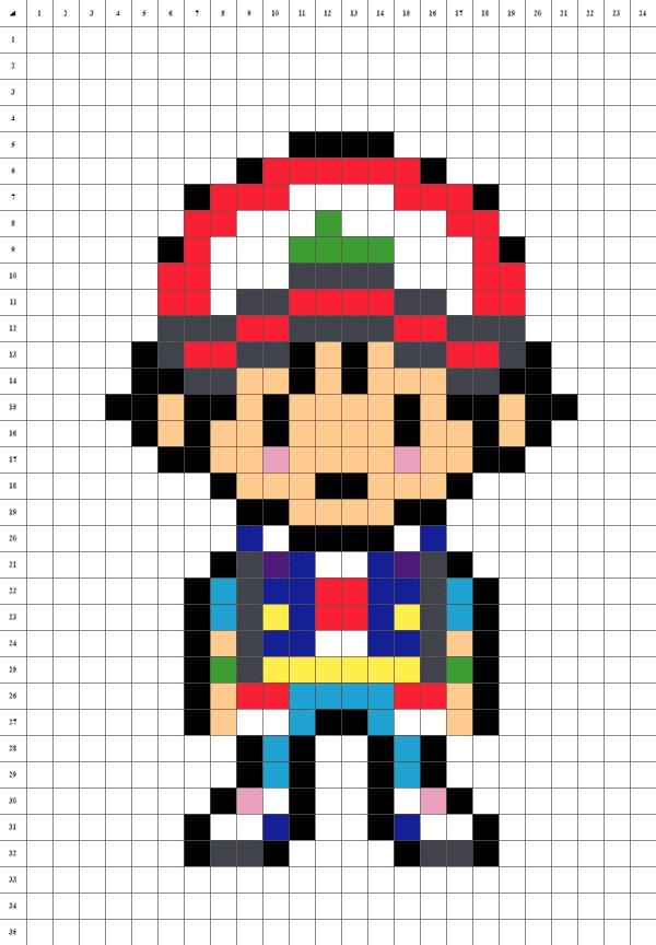 pixel art de Sacha de Pokémon sur fond blanc