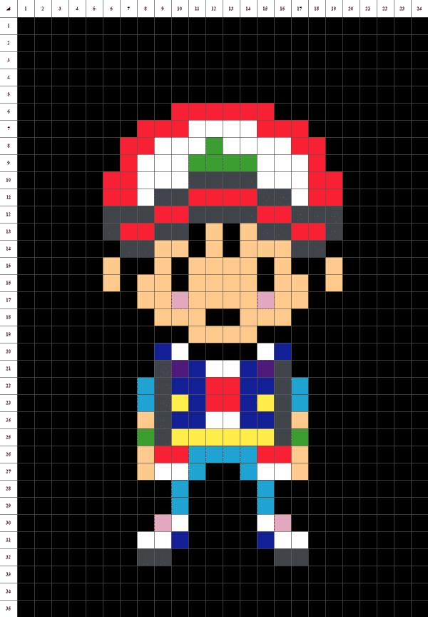 pixel art de Sacha de Pokémon sur fond noir
