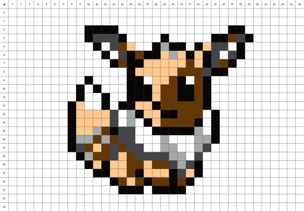 pixel art du pokémon évoli sur fond blanc